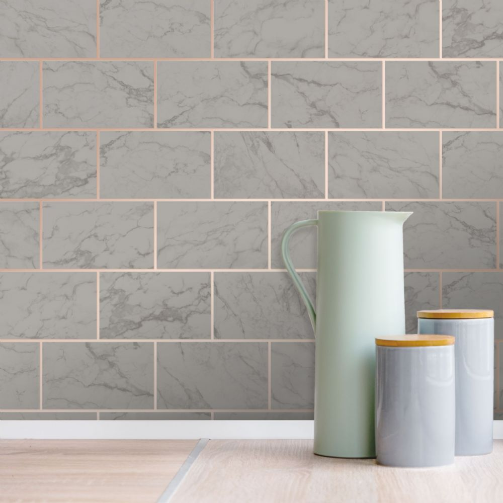 Crown Metro Tile Marble Charcoal M1511 Wallpaper
